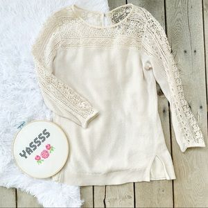 Lucky Brand Lace and Cream Waffle Knit Sweater SM